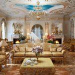 Богатая гостиная, оформленная в стиле барокко