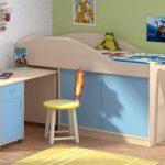 Детская кровать-чердак голубого цвета