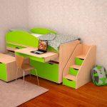 Детская кровать-чердак Караван с выдвижным столом и ящиками