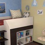 Детская кровать чердак с местом для хранения