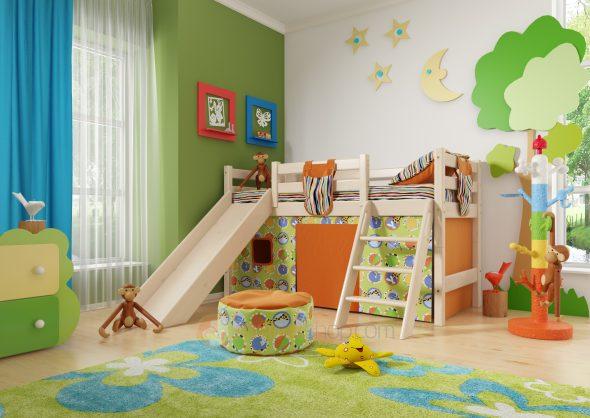 Детская кроватка с горкой и игровой зоной