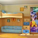 Детская с кроватью-чердаком для мальчика в голубых тонах с Винни-Пухом
