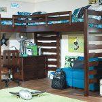 Двойная кровать-чердак с рабочей зоной и диваном внизу