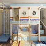 Двухъярусная кровать в детской с игровой и спортивной зоной