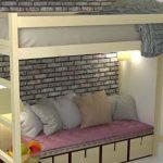 Двуспальная кровать-чердак для экономии места