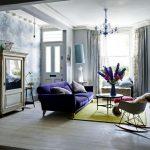 Фиолетовый и серый цвет в интерьере