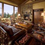 Гостиная с камином в стиле лофт