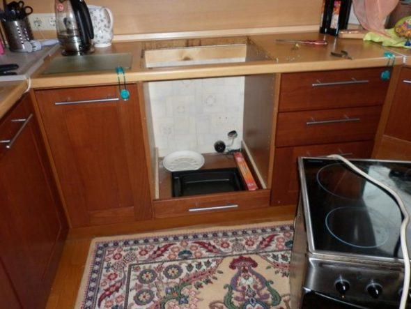 Готовый шкаф для встраиваемой техники