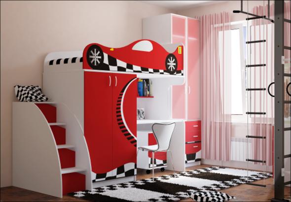 Интерьер комнаты для мальчика с кроватью-чердак