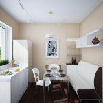 Интересное дизайнерское оформление маленькой кухни с длинным диванчиком