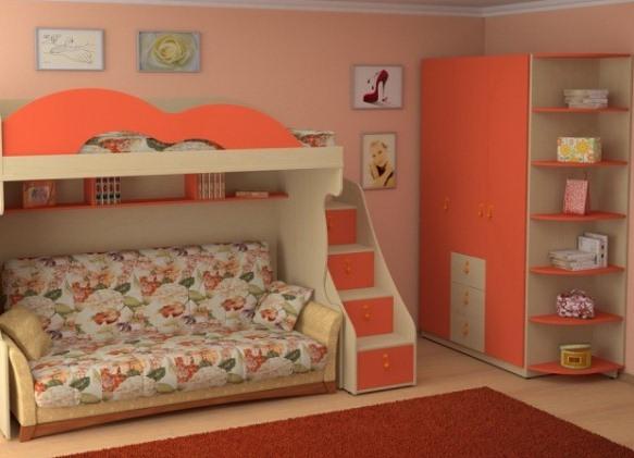 Комплект мебели с кроватью-чердак с диваном из прочного ЛДСП