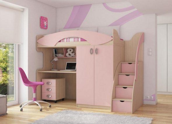 Кровать-чердак розового цвета для девочки