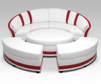 Красно-белый диван-трансформер круглой формы