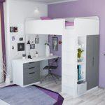 Кровать-чердак 5 в 1 Polini Simple с письменным столом и шкафом белого цвета