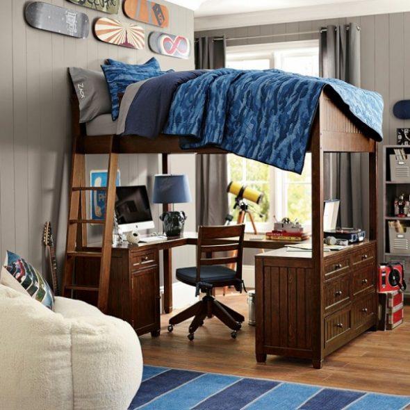 Кровать-чердак для взрослых с рабочим местом и комодом
