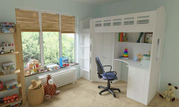 Белая деревянная кровать-чердак с угловым шкафом