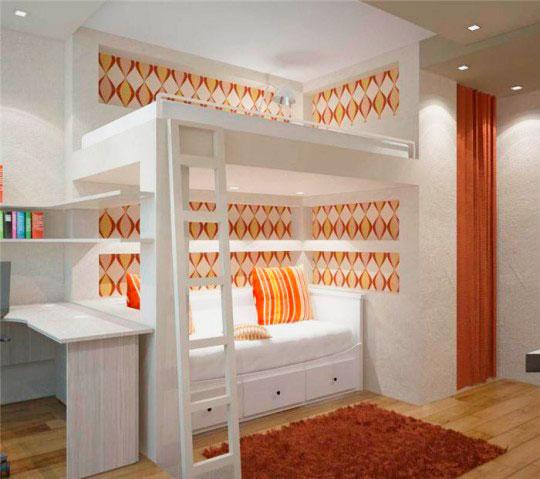 Кровать чердак в бело-оранжевом оформлении