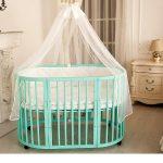 Кровать для малыша мятного цвета