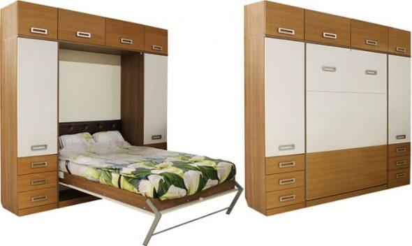 Кровать-шкаф в разобранном и собранном виде