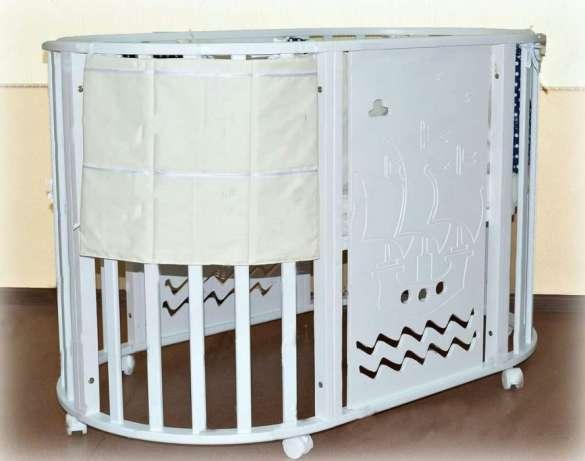 Кроватка круглая трансформер 7 в1 с фрезировкой