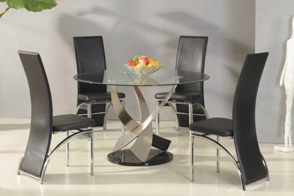 Круглый стол из стекла для стильной кухни