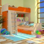 Модель детских кроватей для двух детей