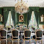 Обеденная комната в зеленых тонах