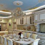 Огромная белая с золотом кухня в силе барокко