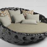 Плетеный диван-кровать круглой формы