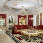 Роскошная гостиная в красно-белых тонах