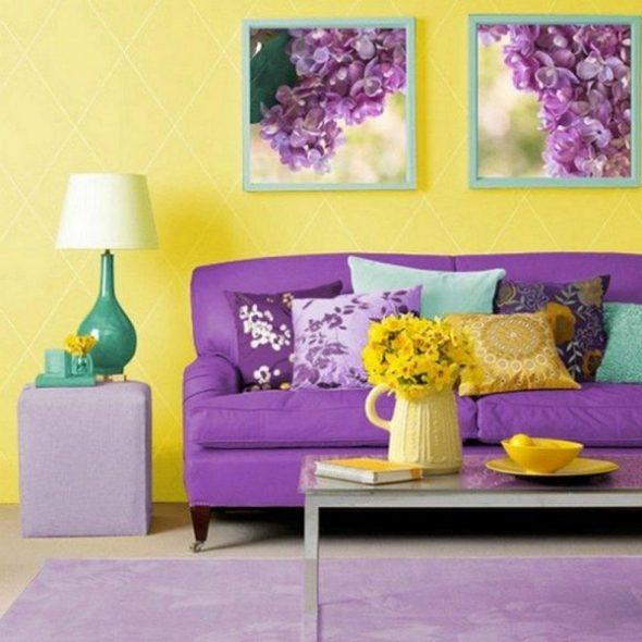 Сочетание фиолетового и желтого цвета в интерьере