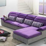 Сочетание серого и фиолетового цвета в интерьере в стиле минимализм