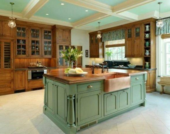 Светло зеленый и коричневый в интерьере кухни