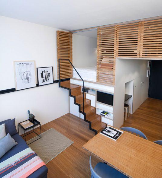 Спрятанная кровать-чердак для квартиры студии
