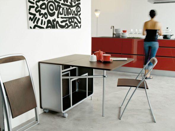 Стол-тумба на колесиках для кухни в стиле модерн