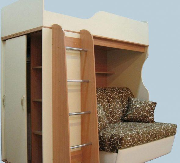 Угловой комплект мебели с кроватью-чердак