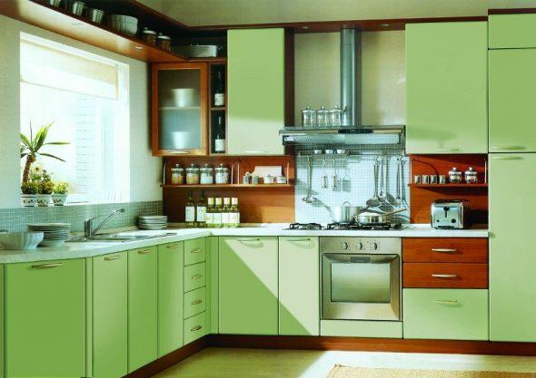Встроенный духовой шкаф, подобранный по цвету к интерьеру кухни