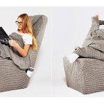 Вязанный чехол и плед для кресла