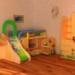 Яркая детская кроватка-чердак с шкафчиками и горкой