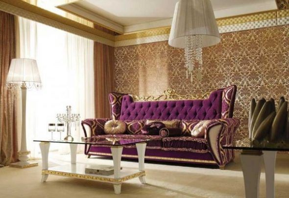 Золотистая классическая гостиная