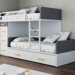 Бело-серая кровать для подростков