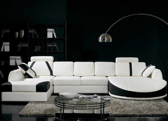 Черно-белая мебель в гостиную в современном стиле