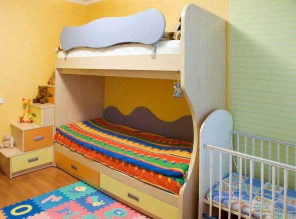 Детская комната для троих маленьких детей