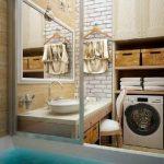 Дизайн ванной со стиральной машиной в открытом шкафу