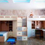 Идея оформления трех спальных и одного рабочего места