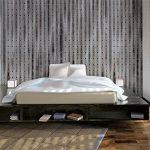 Комната в стиле лофт с кроватью на возвышении
