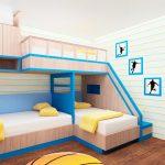 Кровать для троих детей необычной формы
