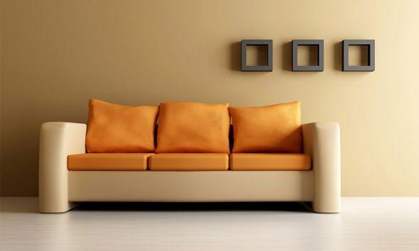 Мягкий диван в интерьере