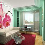 Нежная комната с орхидеями с мягким светлым диваном