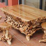 Резные стол и табуретки из дерева своими руками